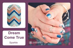 Add a little sparkle to your mani! 'Dream Come True' truly is dreamlike with its trending colors and touch of sparkle! #bevsjamminnails https://bkimball.jamberry.com/us/en/shop/products/dream-come-true#.VunDbuIrJD8