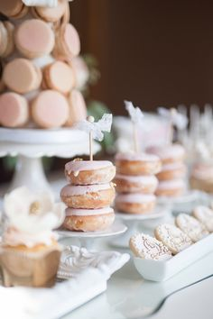 Blush Pink Ontario Winery wedding - wedding donuts on a luxurious sweets table. See more of this lux winery wedding at www.rebeccachan.ca