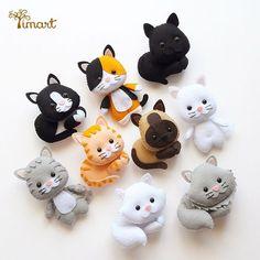 Diy Crafts - -felt fabric crafts fabriccrafts DIY Japanese Folk Art Mobile Strap Fabric kit Can make 4 kitten --- Japanese Craft Kit (Just use gl Fabric Crafts, Sewing Crafts, Sewing Projects, Felt Patterns, Stuffed Toys Patterns, Plushie Patterns, Felt Decorations, Felt Cat, Felt Christmas Ornaments
