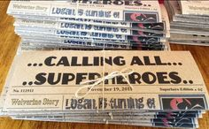 A Super Hero party is very likely in my future.  I adore the idea of newspaper invites featuring the birthday hero!