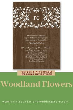 Woodland Flowers Invitation - Perfect for a rustic wedding with its woodgrain background and sweet white florals.  Don't forget the charming matching stationery pieces.  Shop this and many more rustic wedding invitations at www.PrintedCreationsWeddingStore.com.  #rusticwedding  #rusticweddinginvitations  #rusticweddinginvites  #rusticinvites  #rusticinvitations  #rusticinvitationswedding  #weddinginvitations  #invitationswedding #weddinginvites #inviteswedding