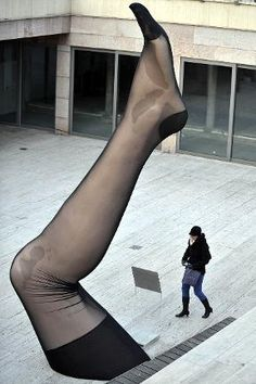 A giant sculpture of a panty hosed leg   at an open air exhibition entitled ''The Magnificent Innovations for Women'' in Budapest. Giant installations representing revolutionary products that changed women's lives in the 20th century can presently be seen in central Budapest.