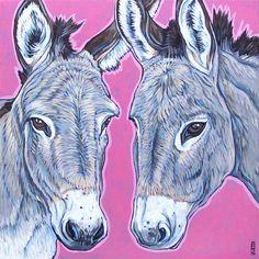 "Custom Pet Portrait Painting on Canvas in Acrylics 10"" x 10"" of 2 Donkeys, Horses, Ponies, Dogs, Cats, Livestock. Julia and Sally Donkeys sample from Pet Portraits by Bethany"