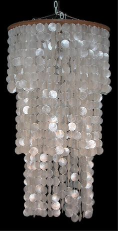 "Capiz Shell Triple White Round Top Chandelier 19"" accross x 35"""