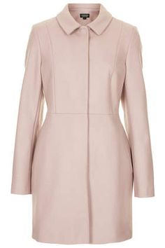 TOPSHOP | Wool Skirted Coat in pink | Wool mix coat coat with front panelling detail and peter pan collar with front popper fastening. 80% Wool,20% Nylon. Dry clean only. Length 84cm. | £89 Note: coat is more greige than dusty pink in real life.