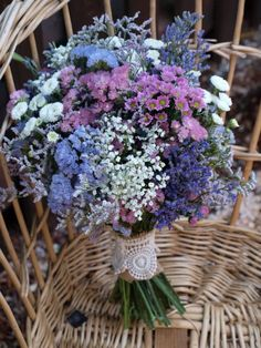 Bouquet with many kind of flowers. Daisy, Gardenia, Forget-me-not, Lavender, Hyd. Dried Flower Bouquet, Dried Flowers, Bride Bouquets, Floral Bouquets, Purple Wedding, Wedding Flowers, Wedding Centerpieces, Wedding Decorations, Renaissance Wedding