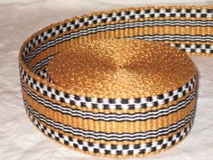 Gold black and white handwoven inkle trim over 14 by applegirl5, $45.00
