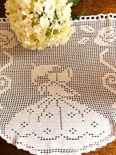 Dutch Crochet Curtains Filet Valance Vintage by oldamsterdam, $26.00