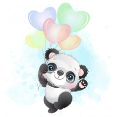 Cute Little Panda Flying With Balloon Cute Panda Wallpaper, Animal Wallpaper, Panda Wallpapers, Cute Cartoon Wallpapers, Baby Animal Drawings, Cute Drawings, Panda Puppy, Panda Lindo, Watercolor Mermaid