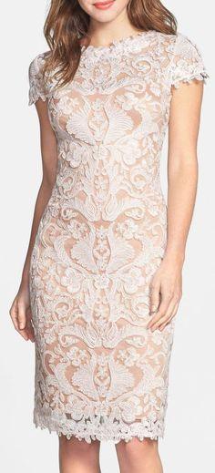 Tadashi Shoji | Illusion Yoke Lace Sheath Dress | Sponsored by Nordstrom Rack