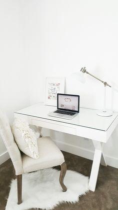 #whitelanedecor @whitelanedecor Office space, brass task lamp, x leg desk, free printables, cute office space, all white walls, modern farmhouse, craftsman farmhouse,
