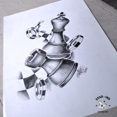 25 Chess Pieces Pencil Drawing Ideas - New Badass Drawings, Pencil Art Drawings, Art Drawings Sketches, Tattoo Sketches, Tattoo Drawings, Stencils Tatuagem, Tattoo Stencils, Chess Piece Tattoo, Chicano Tattoos Sleeve