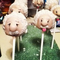 Albert Einstein cake pops I created tonight for a graduation party!!