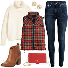 red holiday plaid puffer vest, plaid vest, puffer vest, christmas, holiday, party, outfit, women fashion, casual outfit, skinny jeans, booties, gift ideas