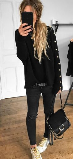 black on black | sweater + bag + skinnies + sneakers