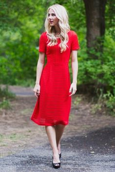 """""""Scarlett"""" Modest Dress in Red is perfect for Christmas, Valentine's Day, bridesmaids, dances or just to wear to church...but be ready to turn heads!"""