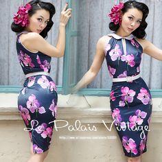 Le Palais Vintage 2016 Summer New Arrival Dark Blue Floral Sleeveless Peter Pan Collar Slim Middle Women Dress