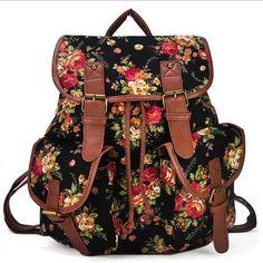 Barato Vintage impressão mochila de lona mochilas escolares mochilas para…
