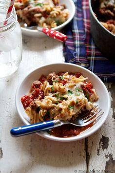 Cheesy Skillet Pasta with Meat Sauce recipe on FamilyFreshCooking.com © MarlaMeridith.com