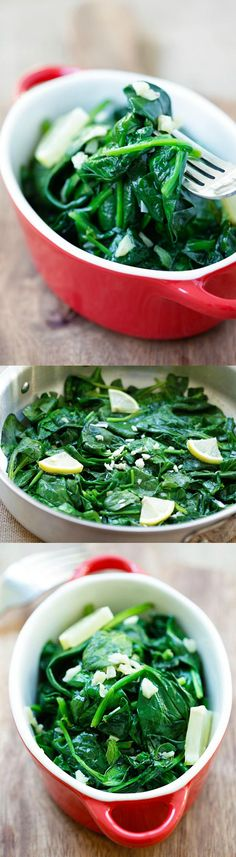 Garlic Butter Spinach - sauteed baby spinach with garlic & butter. Easy and healthy recipe with only 5 ingredients and takes 8 mins! | rasamalaysia.com
