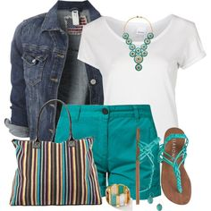Denim Jacket and Teal Shorts, created by daiscat on Polyvore