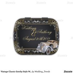 Vintage Classic Gatsby Style Wedding Favor Jelly Belly Candy Tin
