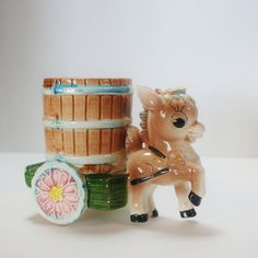 Vintage Donkey Barrel Cart Planter. $13.15, via Etsy.