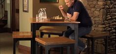 How to Build your own pub table and matching stools « Furniture & Woodworking Pub Table And Stools, Pub Style Table, Diy Bar Stools, Kitchen Stools, Pub Tables, Diy Kitchen, Kitchen Ideas, Butcher Block Tables, Restaurant Tables