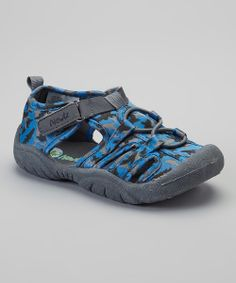 Take a look at the Newtz Blue & Gray Camo Shark Water Jock Water Sandal on #zulily today!