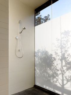 Translucent shower glass  Hydeaway House - modern - bathroom - san francisco - by Schwartz and Architecture