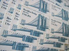 Brooklyn Bridge New York ... Unused Vintage Postage Stamps ... 50 Stamps 20 Cents