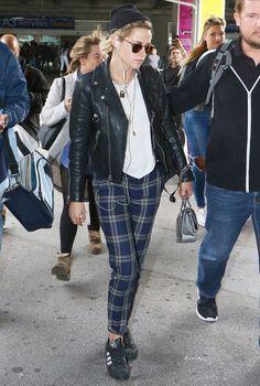 Kristen Stewart in the adidas Superstar Black/White