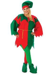 Dazzling Adult Economy Elf Plus Size Costume. Perfect range of Elf Costumes for Christmas at PartyBell.