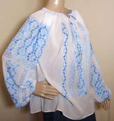 Hand stitched silk turquoise Romanian ethnic blouse top Peasant Blouse, Kimono Top, Silk Thread, Hand Stitching, Ethnic, Blouses, Hands, Turquoise, Pure Products