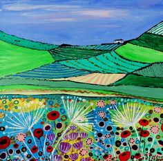 ARTFINDER: A Quiet Summer by Caroline Duncan - This is a impressionist style abstract painting on flat canvas board Pebeo   A Scottish Highland country scene in Summer, with rolling fields and country c...