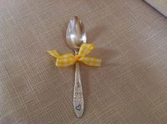 Baby spoon with heart and ribbon. by WillowgalJewelry on Etsy, $9.00