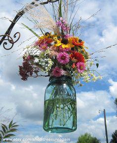 Hanging Mason Jar Vases with Flower Frog Lids & Hangers by treasureagain by TreasureAgain, via Flickr