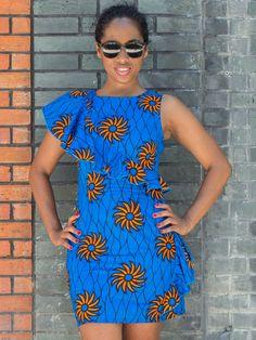 Robe Fashion En Tissu Wax Africain Avec Épaules Asymétriques cd004