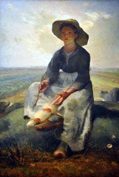 Young Shepherdess: 1870-1873 by Jean-François Millet (Museum of Fine Arts, Boston, MA) - Realism, Barbizon School?