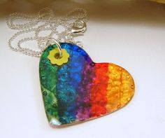 Rainbow Heart Pendant Necklace  Red Brass by SecondNatureJewelry, $16.00