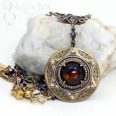 Secret Compartment LOCKET Layered Brass Vintage Topaz Glass Golds Browns Beaded Chain Arrow Links N0420 by Robin Delargy LooLoo's Box