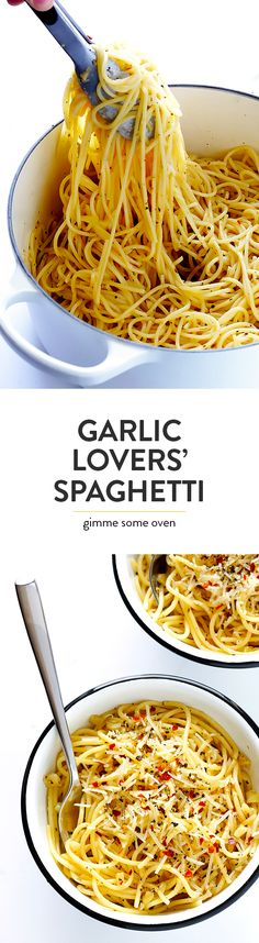 This Garlic Lovers' Spaghetti is quick and easy to make, it's packed with simple and ultra-garlicky Italian flavors, and it's absolutely delicious. Gonna try it with Shirataki Noodles. Vegetarian Italian, Vegetarian Recipes, Healthy Recipes, I Love Food, Good Food, Yummy Food, Tasty, Pasta Dishes, Food Dishes