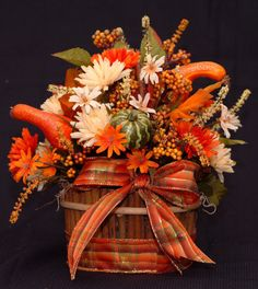 Fall Wicker Basket Arrangement by Debsflorals on Etsy, $21.99