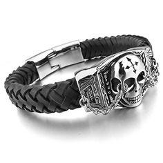Men's Stainless Steel Leather Bracelet Bangle Silver Black Skull Cross Gothic INBLUE http://www.amazon.com/dp/B00DW2L4AS/ref=cm_sw_r_pi_dp_x1VNvb043B6JX