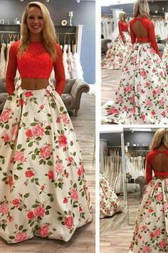 Beautiful chiffon two pieces flowers round-neck long sleeves floor-length A-line prom dress
