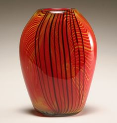 Murano red cased art glass vase.