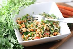 Carrot Top Tabbouleh with Chickpeas from Florida Coastal Cooking. I would replace the tabbouleh with couscous or quinoa, looks great.