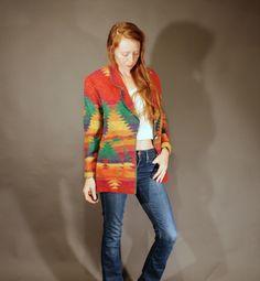 80s Vintage medium wool blazer coat jacket women's fashion south western rainbow print conch buttons D. Terrell ltd. by furhatguild on Etsy