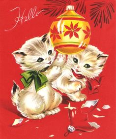 Kittens and Tree Ornaments Vintage Christmas Card