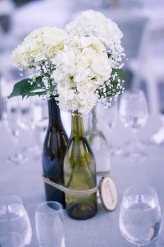 Floral Wedding Centerpieces Planning and Tips - Love It All Wine Bottle Centerpieces, Wedding Table Centerpieces, Wedding Flower Arrangements, Flower Centerpieces, Wedding Decorations, Centrepiece Ideas, Floral Wedding, Fall Wedding, Wedding Flowers
